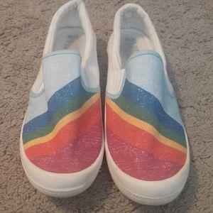 Mad Love kasandra rainbow slip on canvas sneakers